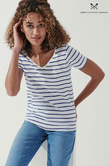 Crew Clothing Company Blue V Neck Nepp T-Shirt