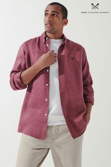 Crew Clothing Company Purple Long Sleeve Relaxed Linen Shirt