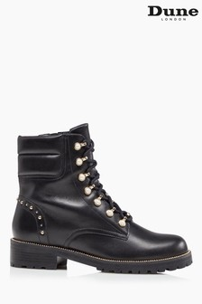 Dune London Pearlise Pearl Embellished Lace Up Ankle Boots