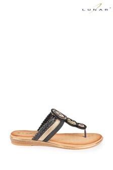 Lunar Black Carlotta Jewelled Toe Post Sandals