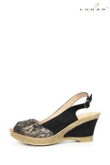 Lunar Black Binks Wedged Summer Sandals