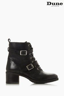 Dune London Black Paxtone Buckle Detail Heeled Hiker Boots