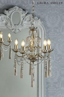 Laura Ashley Champagne Aanais 5 Light Crystal Chandelier