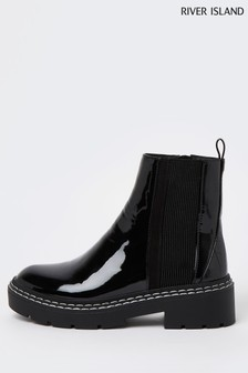 River Island Black Chunky Panelled Gusset Boot