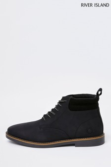 River Island Black Casual Chukka Lace Up Boots