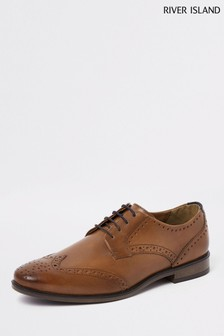 River Island Light Brown Leather Brogue Shoes