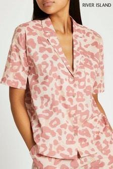 River Island Leopard Cotton Shirt