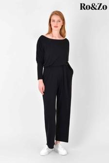 Ro&Zo Black Jersey Sleeve Jumpsuit