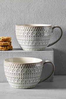 Set of 2 Embossed Floral Mugs