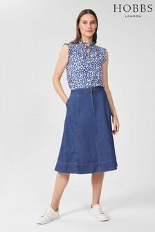 Hobbs Blue Freida Denim Skirt
