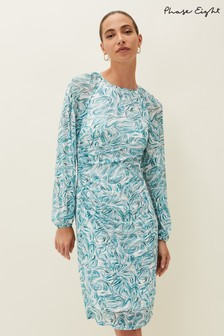 Phase Eight Blue Jolie Swirl Mesh Dress