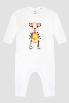 Burberry Kids Baby White Sleepsuit
