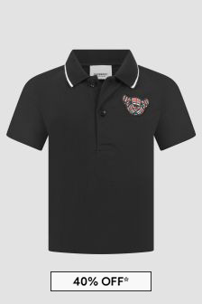 Burberry Kids Baby Boys Black Polo Shirt