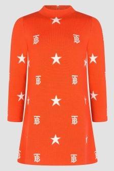 Burberry Kids Girls Orange Dress