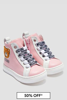 Moschino Kids Girls Pink Trainers