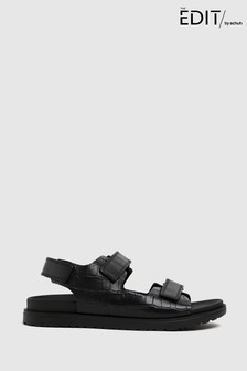 Schuh The Edit By Schuh Precious Croc Leather Sandals