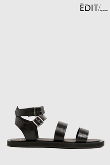 Schuh The Edit By Schuh Petra Croc Leather Sandals
