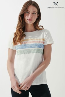 Crew Clothing Company White Placement Stripe Crew T-Shirt