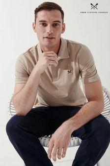 Crew Clothing Company Cream Cotton Linen Polo Shirt