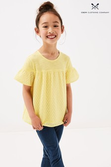 Crew Clothing Company Yellow Broderie Top Woven Jersey Mix Top