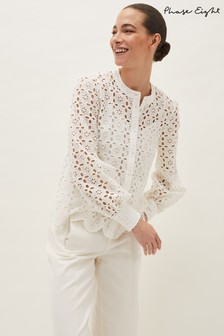 Phase Eight White Evianna Broderie Blouse