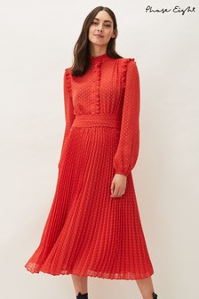 Phase Eight Orange Annie Dobbie Pleat Dress