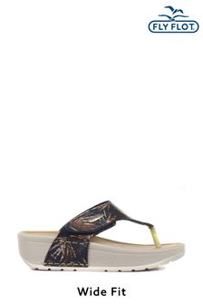 Fly Flot Ladies Wide Fit Toe Post Sandals