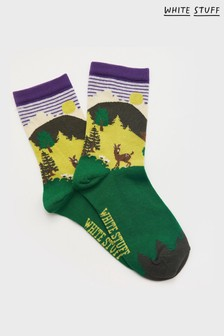 White Stuff Brown Deer Scenic Socks