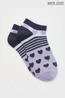 White Stuff Plum Freida Heart Trainer Socks