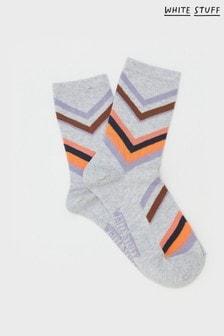 White Stuff Natural Evelyn Glitter Chervon Socks