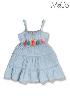 M&Co Cream Chambray Tier Dress