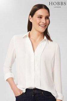 Hobbs Cream Elaine Pleat Shirt