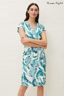 Phase Eight Blue Palms Print Jersey Dress