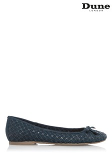 Dune London Blue Heidies Woven Ballerina Flat Shoes