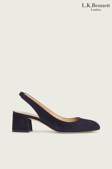 L.K.Bennett Blue Trudy Round Toe Slingback Shoes