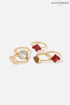 Accessorize Red Berry Blush Gem Ring Set