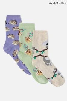 Accessorize Cream/Purple/Green Animal Print Socks Multipack