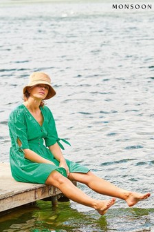 Monsoon Green Button-Through Puff Sleeve Dress
