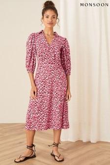 Monsoon Red Willow Jersey Shirt Dress
