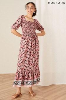 Monsoon Red Sophie Printed Midi Dress