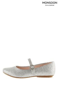 Monsoon Silver Glitter Ballerina Flats