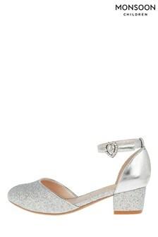 Monsoon Silver Glitter Two-Part Heels