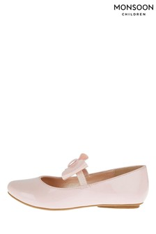 Monsoon Pink Patent Bow Ballerina Flats