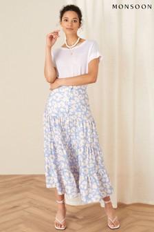 Monsoon Blue Animal Print Tiered Skirt
