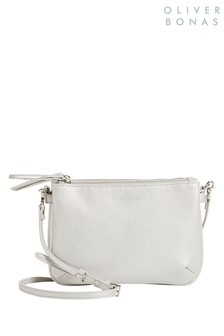 Oliver Bonas Silver Skye Multi Pocket Cross-Body Bag