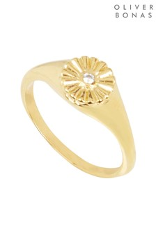 Oliver Bonas Daphne Daisy and Stone Gold Plated Signet Ring