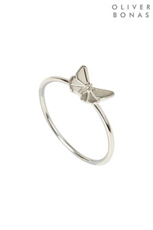 Oliver Bonas Silver Tone Origami Butterfly Ring