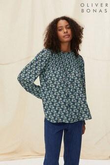Oliver Bonas Blue Floral Pintuck Long Sleeve Top