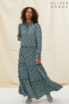 Oliver Bonas Blue Floral Tiered Tie Neck Maxi Dress