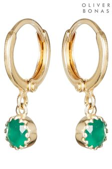 Oliver Bonas Alula Round Green Onyx Drop Gold Plated Huggie Earrings
